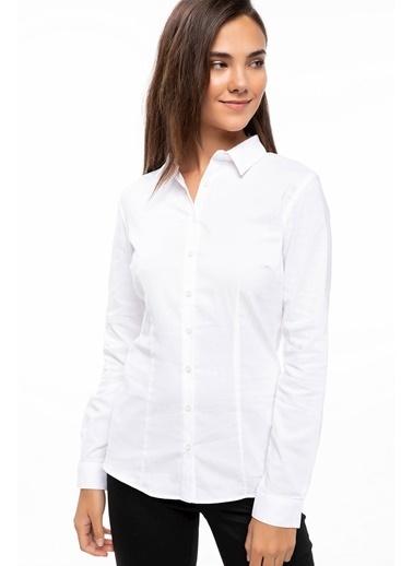 DeFacto Uzun Kol Basic Gömlek Beyaz